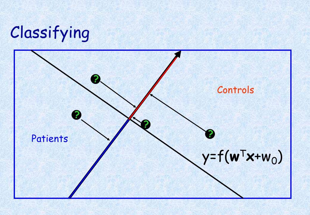 Classifying Controls Patients ? ? ? ? y=f(w T x+w 0 )
