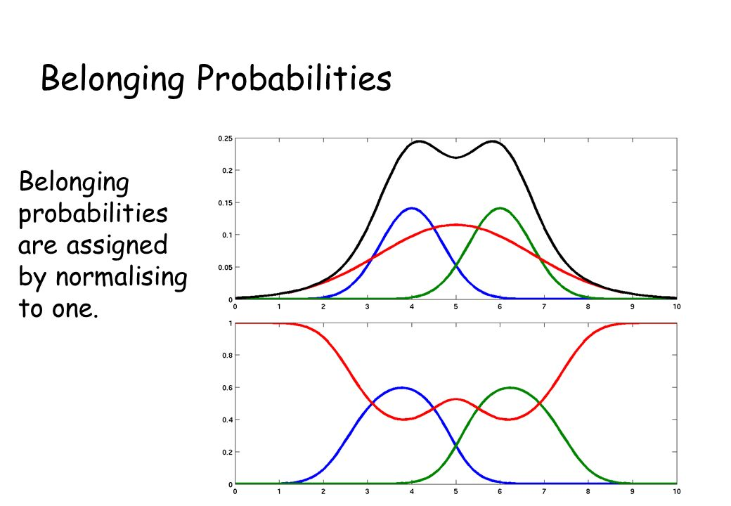 Belonging Probabilities Belonging probabilities are assigned by normalising to one.