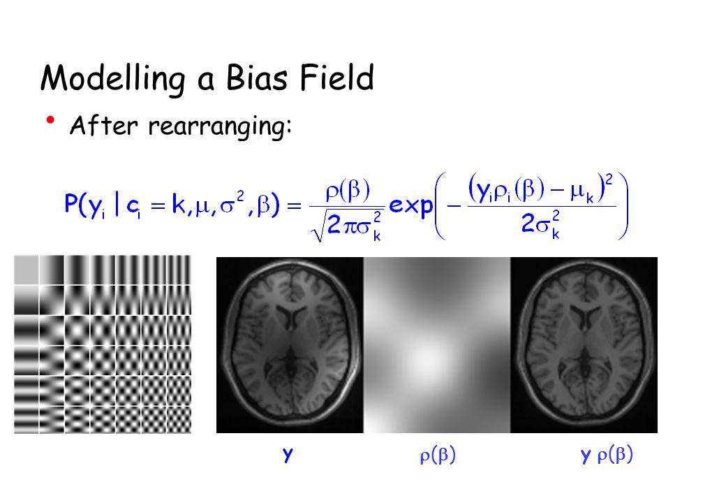 Modelling a Bias Field After rearranging: ( ) y y ( )