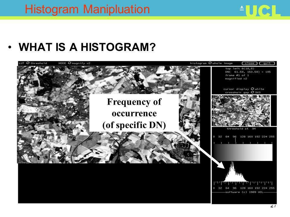 27 Histogram Manipluation WHAT IS A HISTOGRAM? Frequency of occurrence (of specific DN)