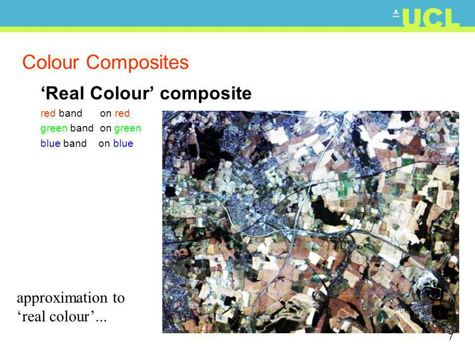8 Colour Composites False Colour composite NIR band on red red band on green green band on blue