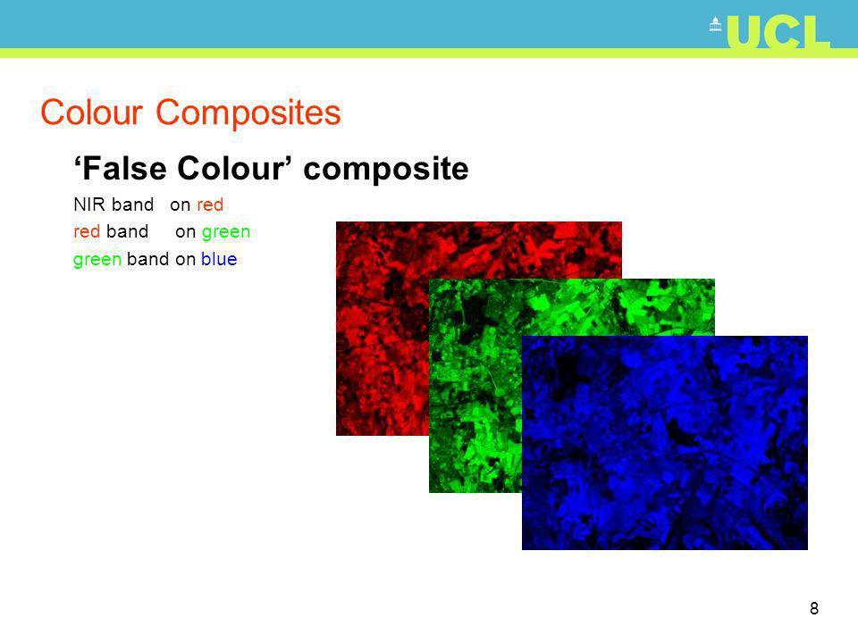 9 Colour Composites False Colour composite NIR band on red red band on green green band on blue