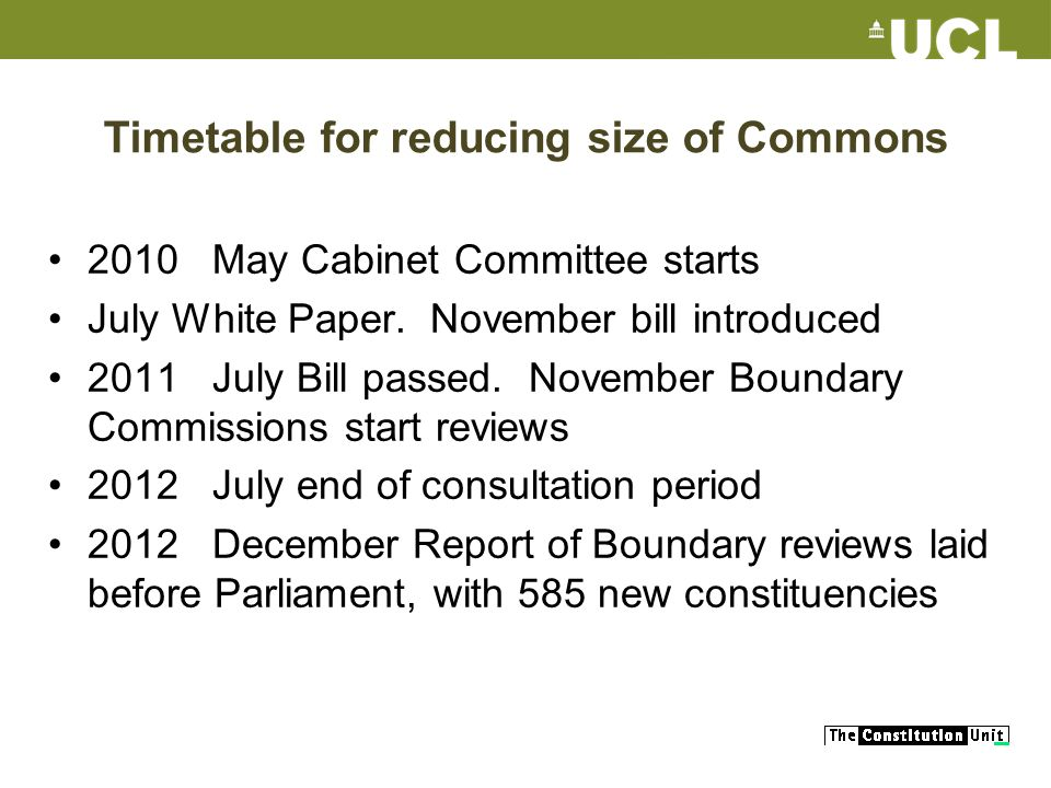 Timetable for reducing size of Commons 2010 May Cabinet Committee starts July White Paper.