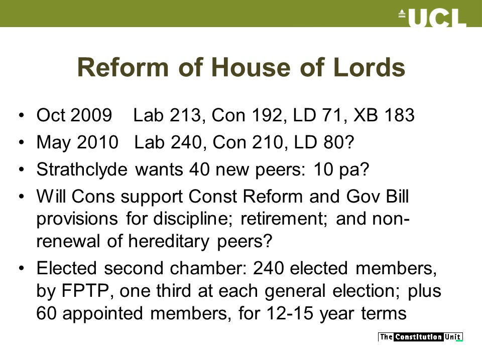 Reform of House of Lords Oct 2009 Lab 213, Con 192, LD 71, XB 183 May 2010 Lab 240, Con 210, LD 80.