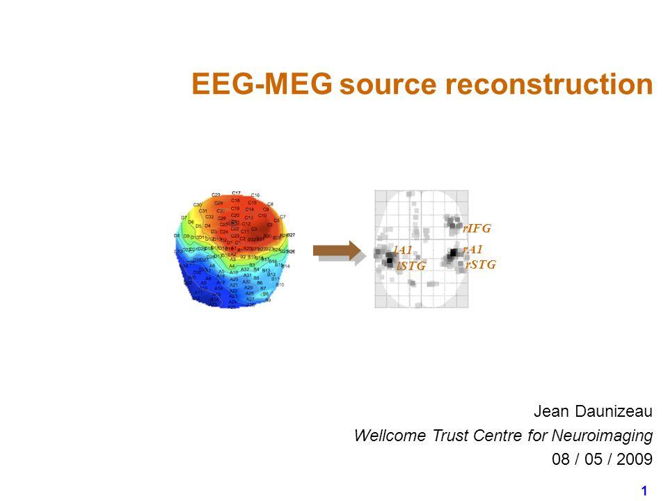 1 Jean Daunizeau Wellcome Trust Centre for Neuroimaging 08 / 05 / 2009 EEG-MEG source reconstruction rIFG rSTG rA1 lSTG lA1