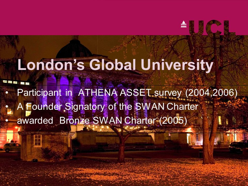 Londons Global University Participant in ATHENA ASSET survey (2004,2006) A Founder Signatory of the SWAN Charter awarded Bronze SWAN Charter (2005)