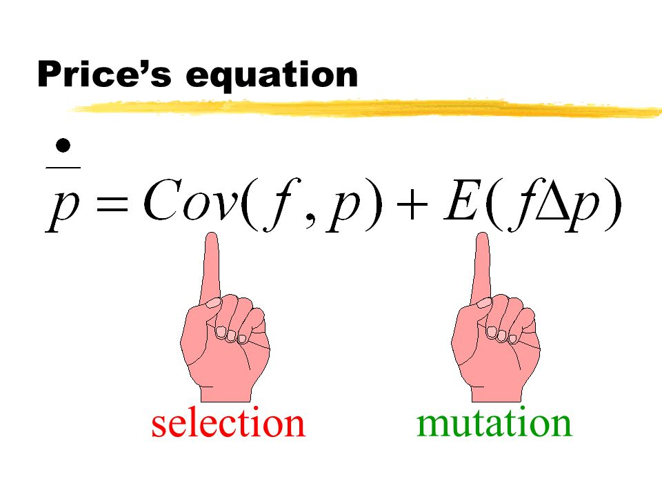 Prices equation selection mutation