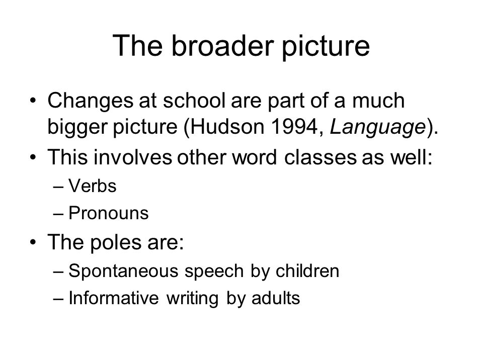 The broader picture Changes at school are part of a much bigger picture (Hudson 1994, Language).