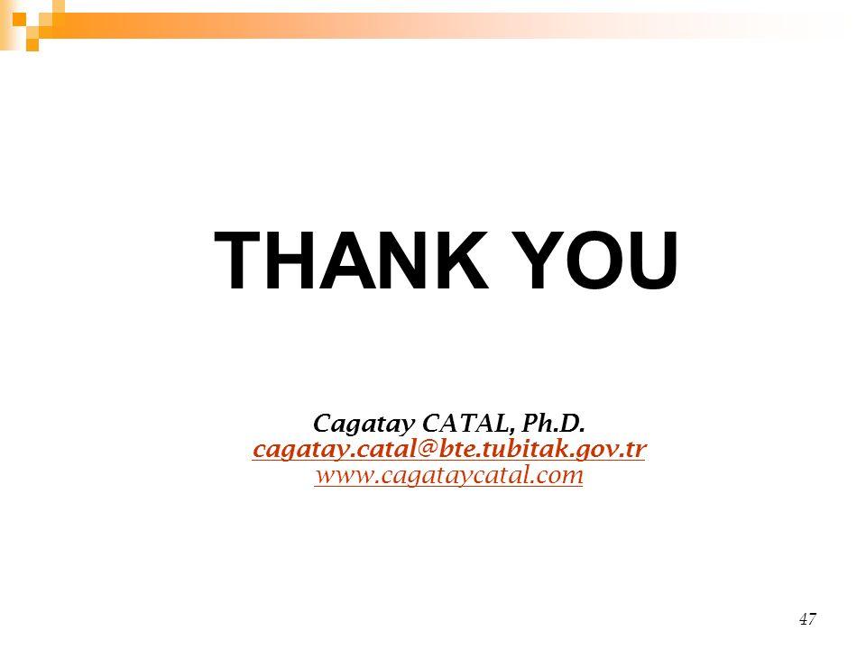 47 THANK YOU Cagatay CATAL, Ph.D. cagatay.catal@bte.tubitak.gov.tr www.cagataycatal.com