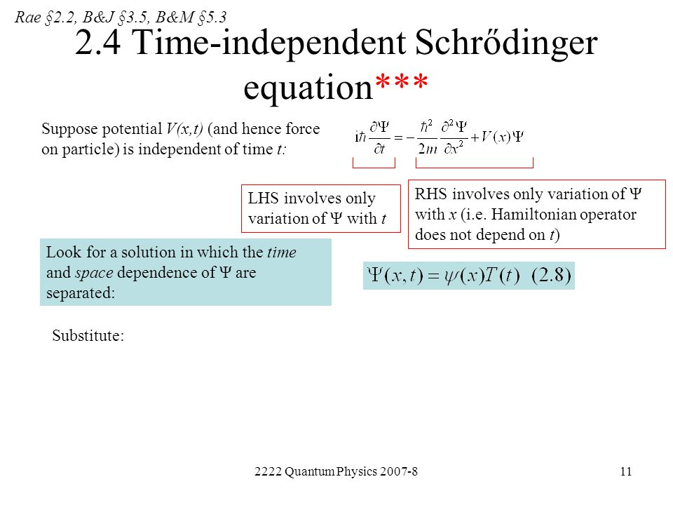 2222 Quantum Physics 2007-811 2.4 Time-independent Schrődinger equation*** Suppose potential V(x,t) (and hence force on particle) is independent of ti