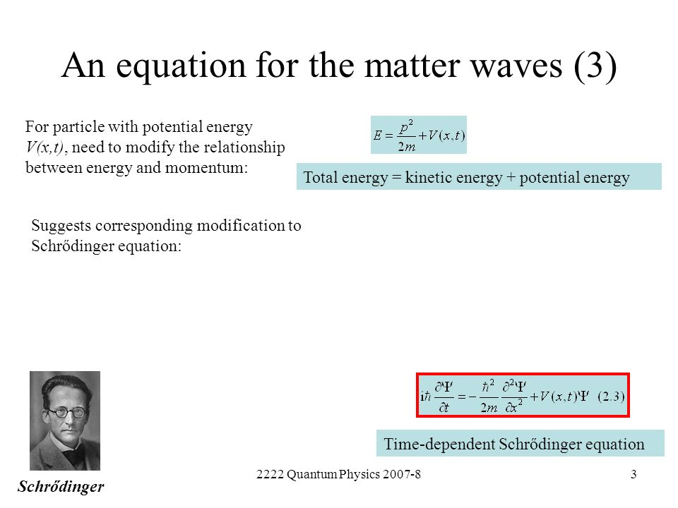 2222 Quantum Physics 2007-83 An equation for the matter waves (3) For particle with potential energy V(x,t), need to modify the relationship between e