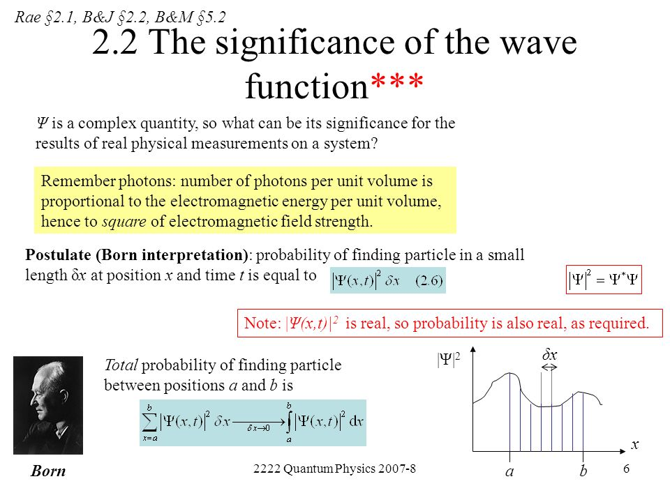 2222 Quantum Physics 2007-86 2.2 The significance of the wave function*** Ψ is a complex quantity, so what can be its significance for the results of
