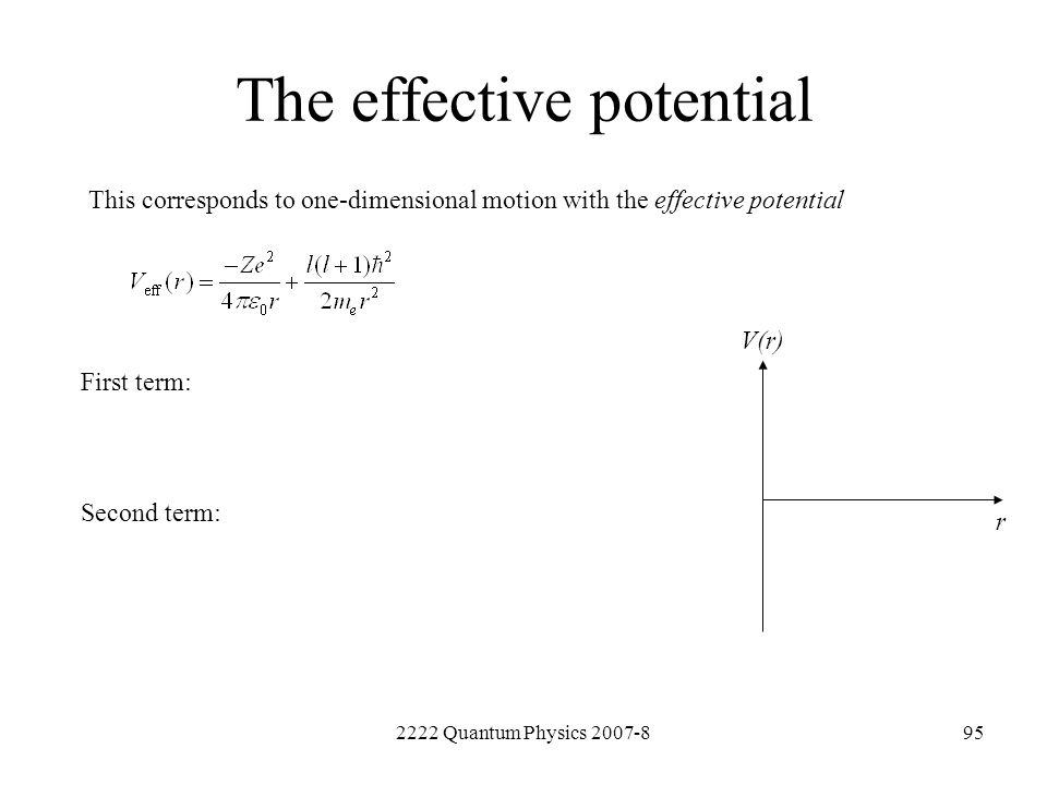 2222 Quantum Physics 2007-895 The effective potential This corresponds to one-dimensional motion with the effective potential First term: Second term: