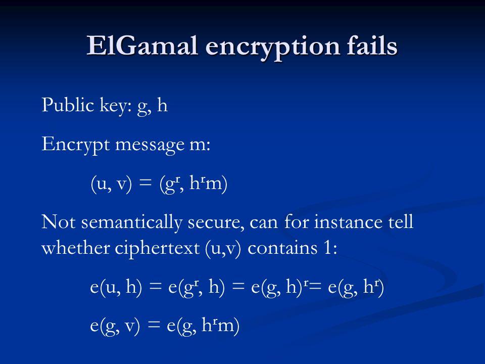 BBS-encryption [BBS04] Public key: f, h, g Secret key: x, y so f = g x, h= g y Encrypt message m: (u, v, w) = (f r, h s, g r+s m) Decrypt (u,v,w): m = w u -1/x v -1/y