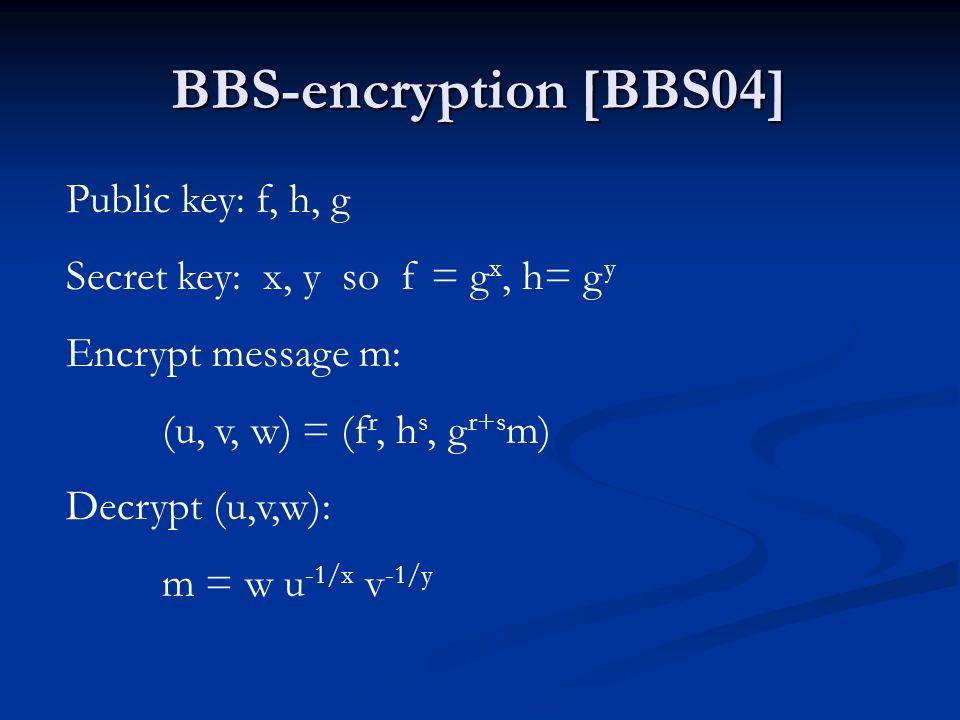 BBS-encryption [BBS04] Public key: f, h, g Secret key: x, y so f = g x, h= g y Encrypt message m: (u, v, w) = (f r, h s, g r+s m) Decrypt (u,v,w): m =