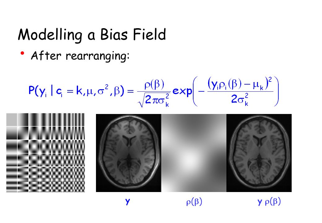 Modelling a Bias Field After rearranging: ( ) y y ( )