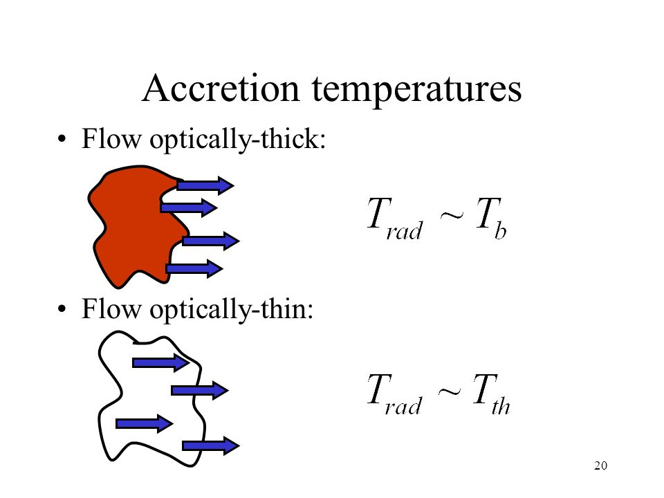 20 Accretion temperatures Flow optically-thick: Flow optically-thin: