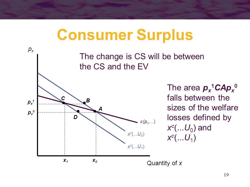 19 Consumer Surplus Quantity of x pxpx x c (...U 0 ) px1px1 x1x1 The change is CS will be between the CS and the EV x c (...U 1 ) x(p x …) A B C D px0