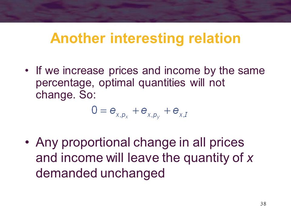 38 Another interesting relation If we increase prices and income by the same percentage, optimal quantities will not change. So: Any proportional chan