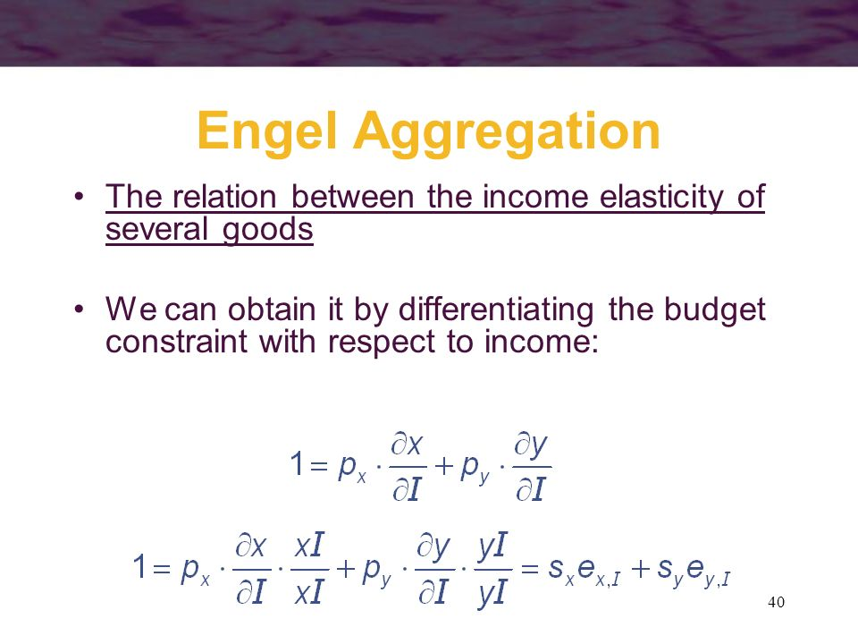40 Engel Aggregation The relation between the income elasticity of several goods We can obtain it by differentiating the budget constraint with respec