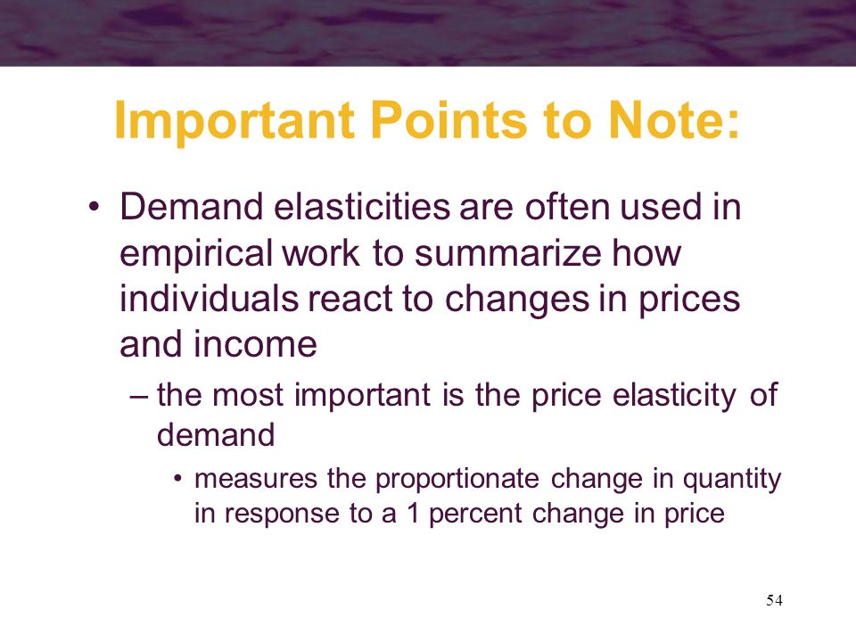 54 Important Points to Note: Demand elasticities are often used in empirical work to summarize how individuals react to changes in prices and income –