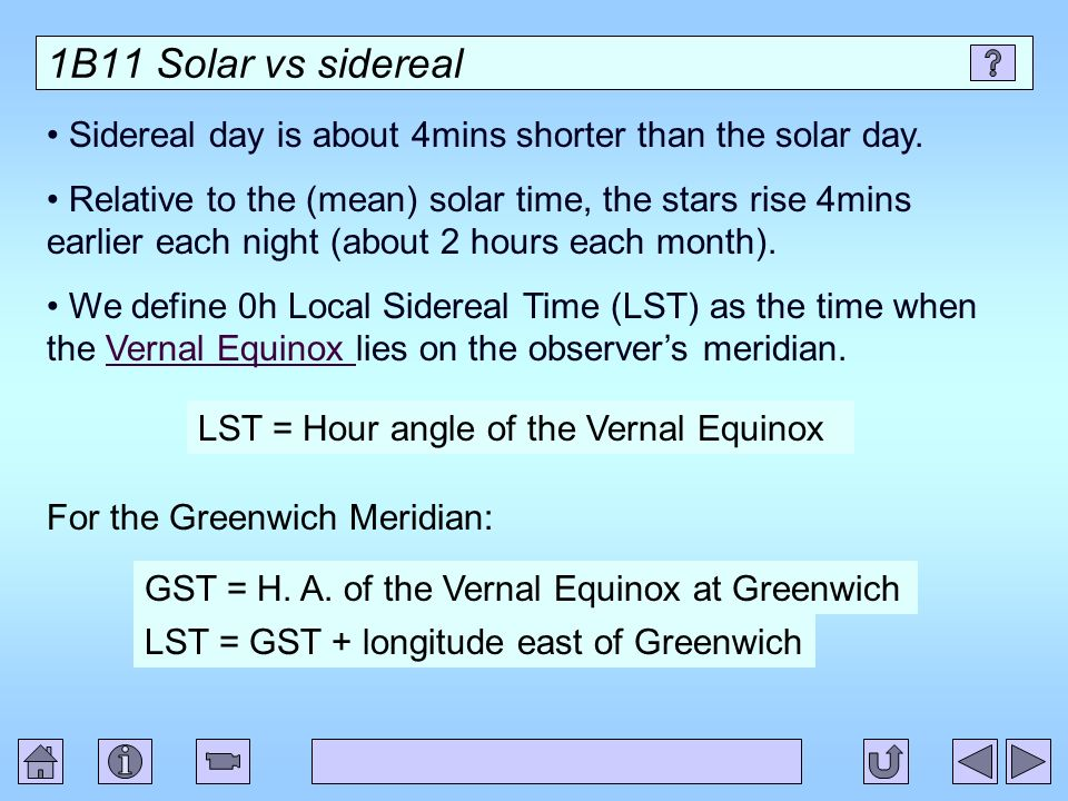 1B11 Solar vs sidereal Sidereal day is about 4mins shorter than the solar day. Relative to the (mean) solar time, the stars rise 4mins earlier each ni