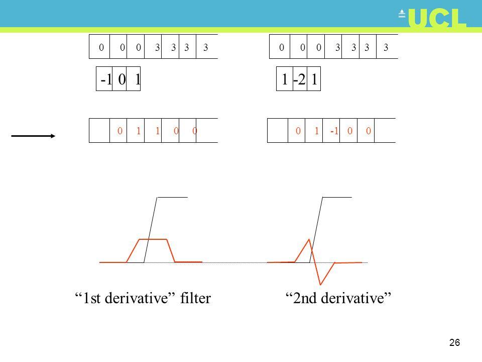 26 1 -2 1 0 0 0 3 3 3 3 -1 0 1 0 1 -1 0 0 0 1 1 0 0 2nd derivative1st derivative filter