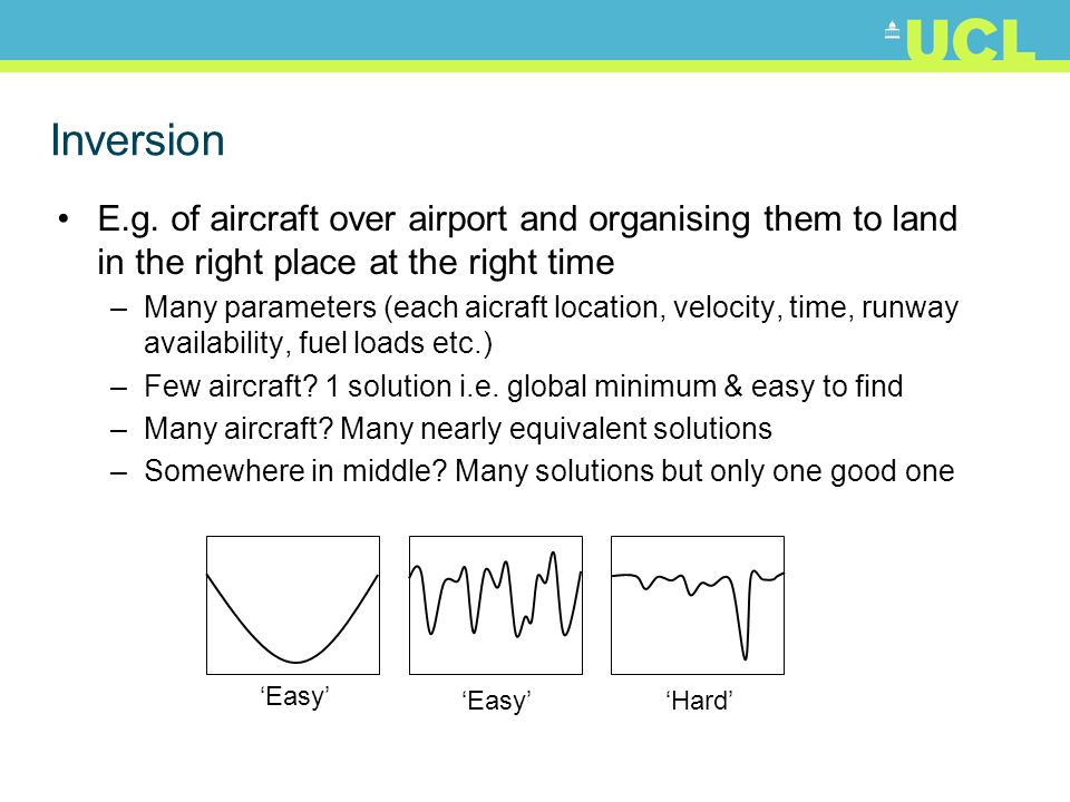 Inversion E.g. of aircraft over airport and organising them to land in the right place at the right time –Many parameters (each aicraft location, velo