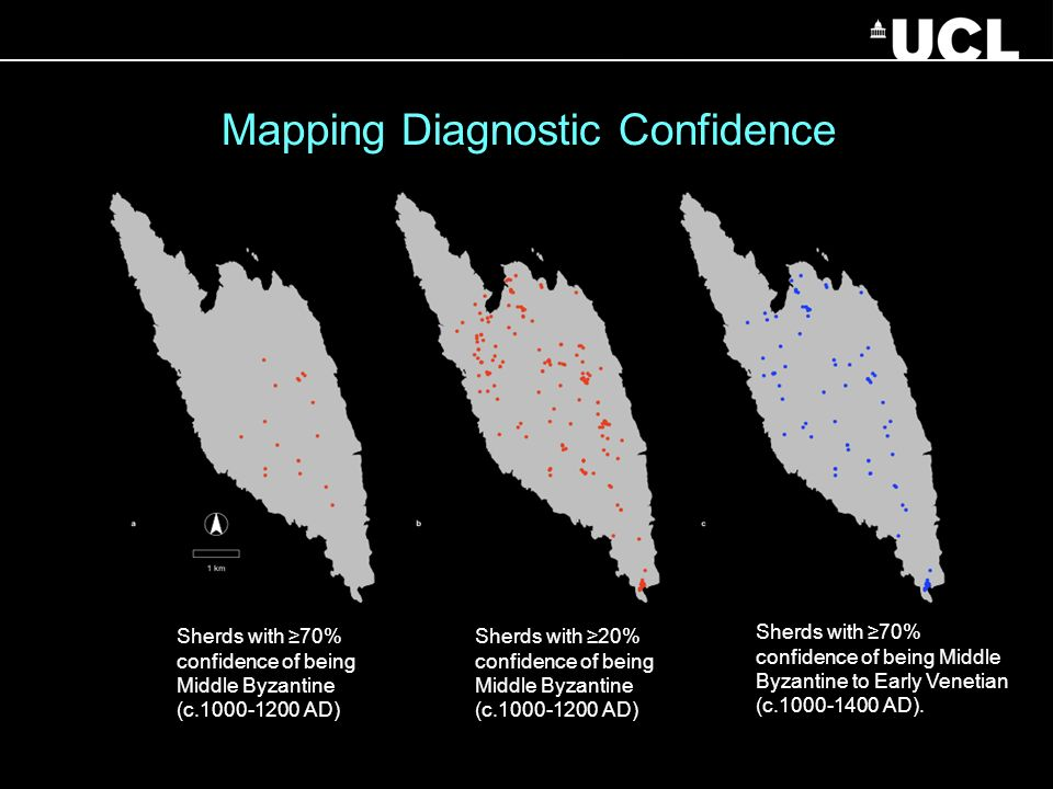 Sherds with 70% confidence of being Middle Byzantine to Early Venetian (c.1000-1400 AD). Mapping Diagnostic Confidence Sherds with 70% confidence of b