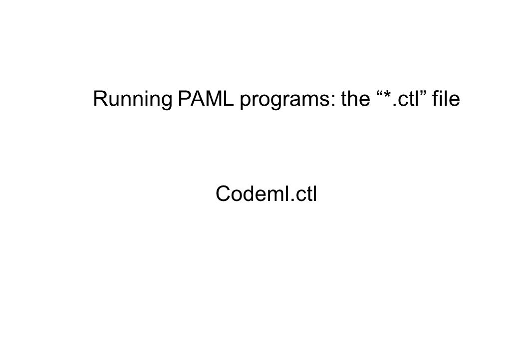 Codeml.ctl Running PAML programs: the *.ctl file