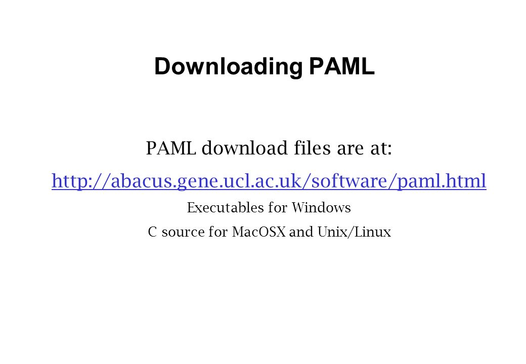 Downloading PAML PAML download files are at: http://abacus.gene.ucl.ac.uk/software/paml.html Executables for Windows C source for MacOSX and Unix/Linux