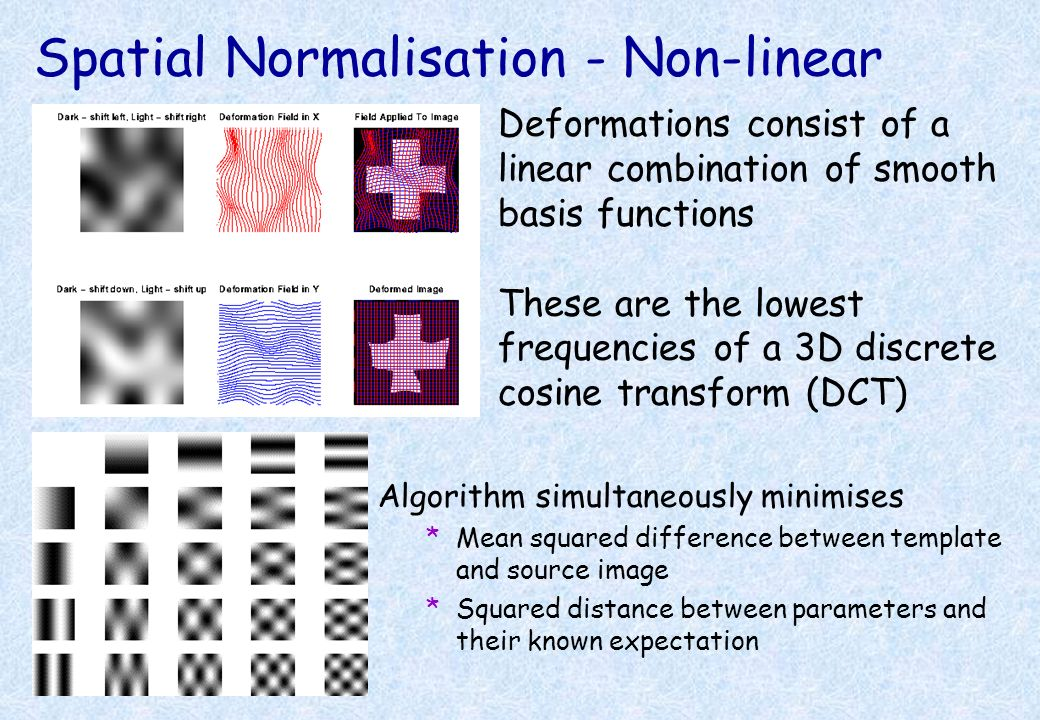 Spatial Normalisation - Affine *The first part is a 12 parameter affine transform *3 translations *3 rotations *3 zooms *3 shears *Fits overall shape