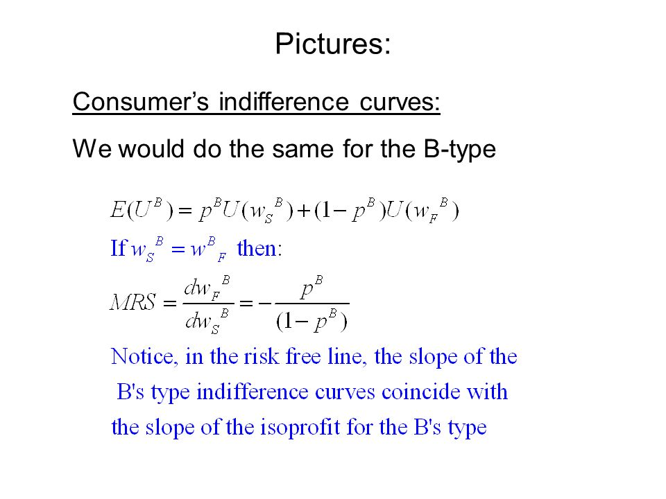 Pictures: Consumers indifference curves: We would do the same for the B-type