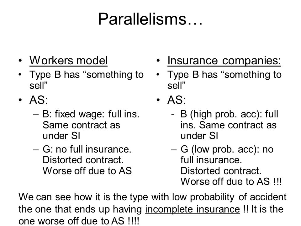 Parallelisms… Workers model Type B has something to sell AS: –B: fixed wage: full ins. Same contract as under SI –G: no full insurance. Distorted cont