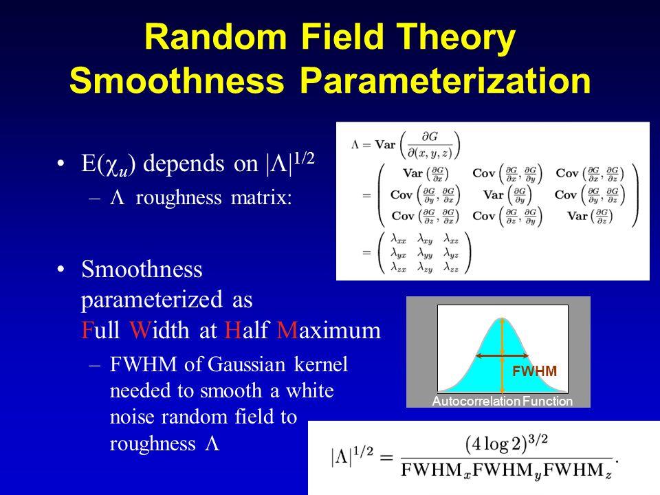 24 Random Field Theory Smoothness Parameterization E( u ) depends on | | 1/2 – roughness matrix: Smoothness parameterized as Full Width at Half Maximu