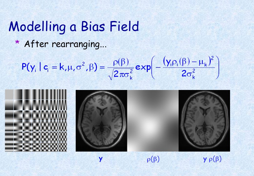 Modelling a Bias Field *A bias field is included, such that the required scaling at voxel i, parameterised by, is i ( ). *Replace the means by k / i (