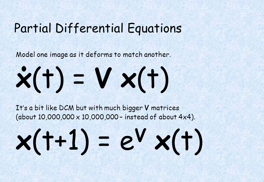 Partial Differential Equations Model one image as it deforms to match another.