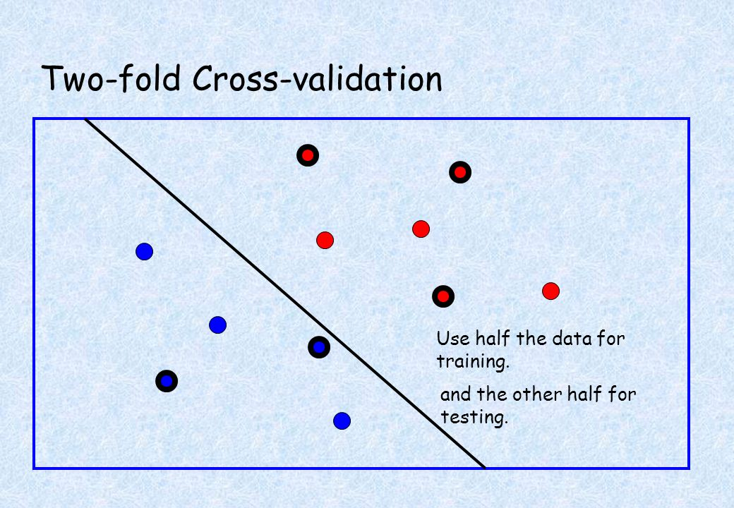 Two-fold Cross-validation Use half the data for training. and the other half for testing.