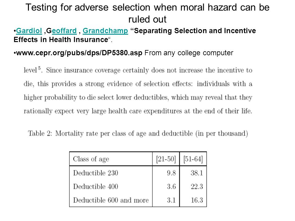 Testing for adverse selection when moral hazard can be ruled out Gardiol,Geoffard, Grandchamp Separating Selection and Incentive Effects in Health Insurance.GardioleoffardGrandchamp www.cepr.org/pubs/dps/DP5380.asp From any college computer