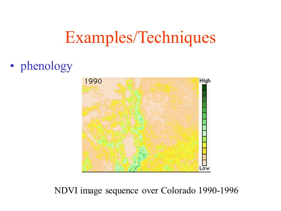 Examples/Techniques phenology NDVI image sequence over Colorado 1990-1996