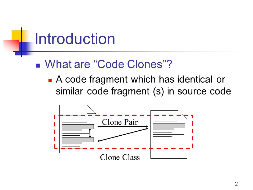 2 Introduction Clone Pair Clone Class What are Code Clones? A code fragment which has identical or similar code fragment (s) in source code