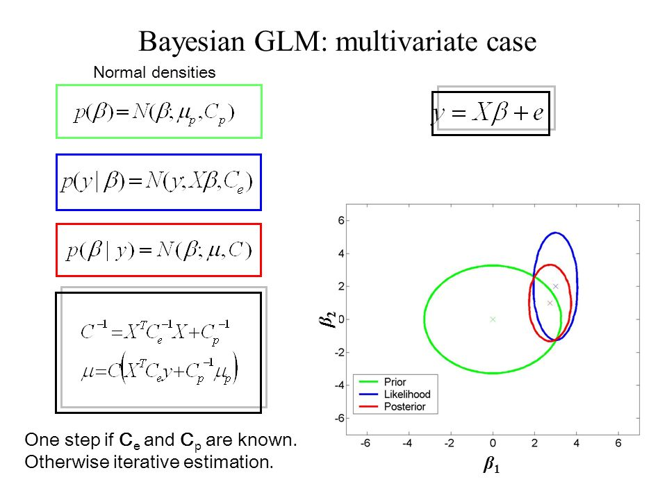 Normal densities Bayesian GLM: multivariate case β2β2 β1β1 One step if C e and C p are known. Otherwise iterative estimation.