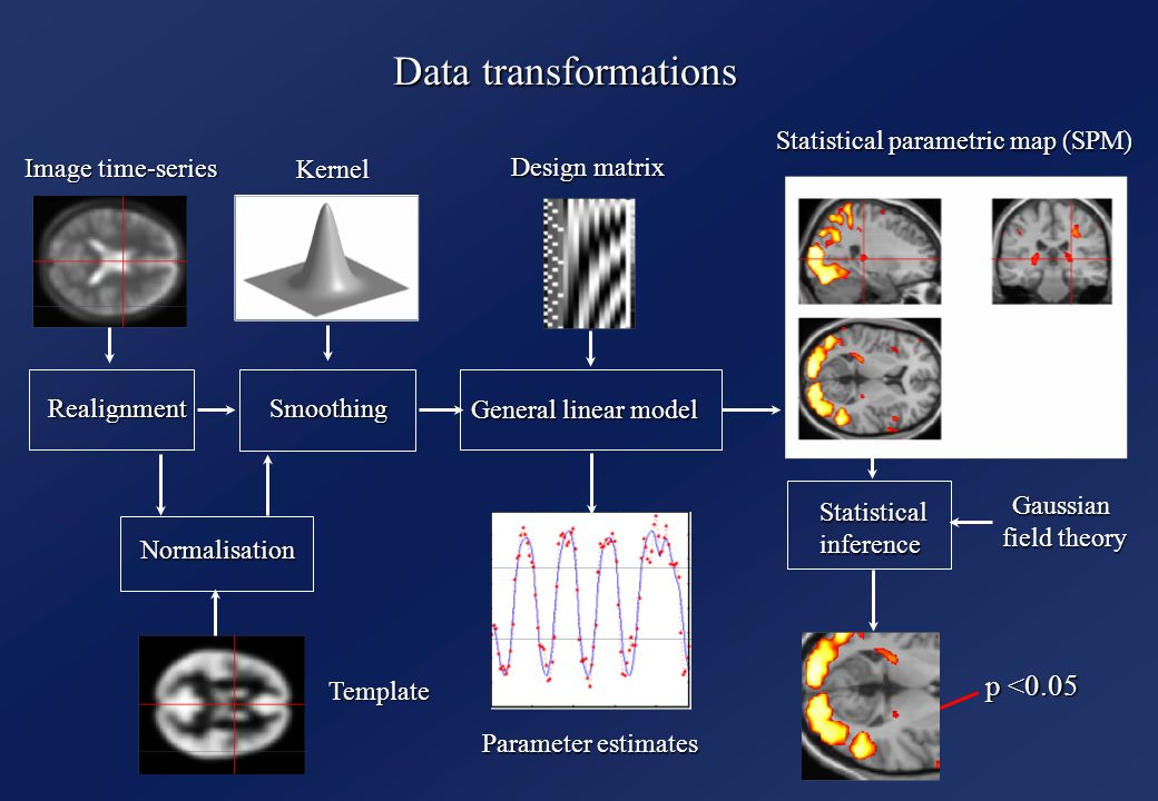 Data transformations RealignmentSmoothing Normalisation General linear model Statistical parametric map (SPM) Image time-series Parameter estimates Design matrix Template Kernel Gaussian field theory p <0.05 Statisticalinference