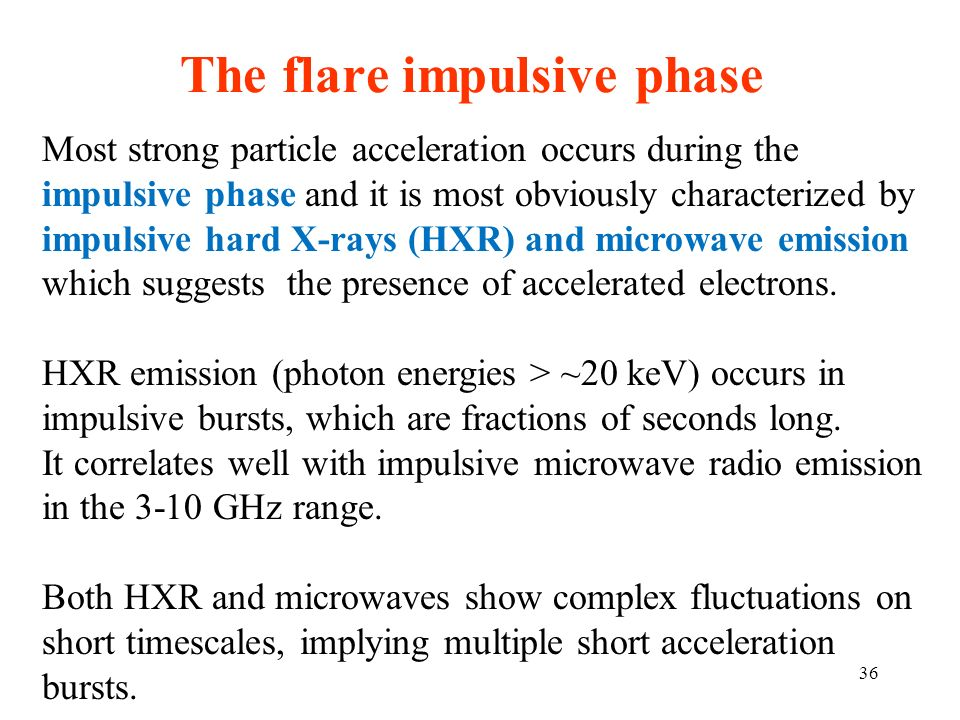 The flare impulsive phase Most strong particle acceleration occurs during the impulsive phase and it is most obviously characterized by impulsive hard