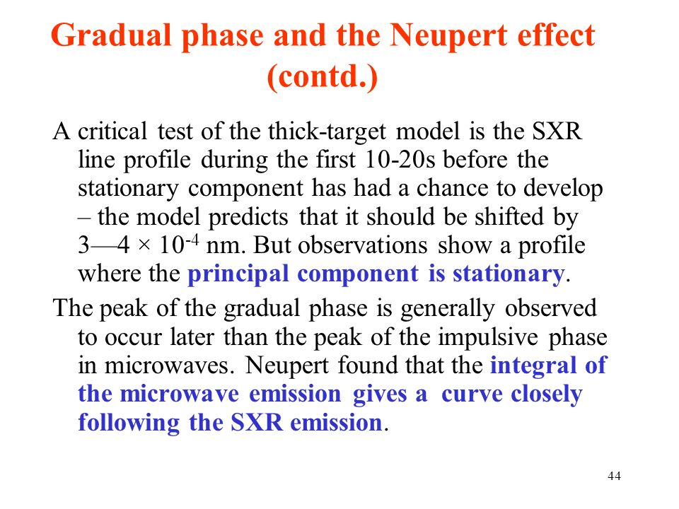 Gradual phase and the Neupert effect (contd.) A critical test of the thick-target model is the SXR line profile during the first 10-20s before the sta