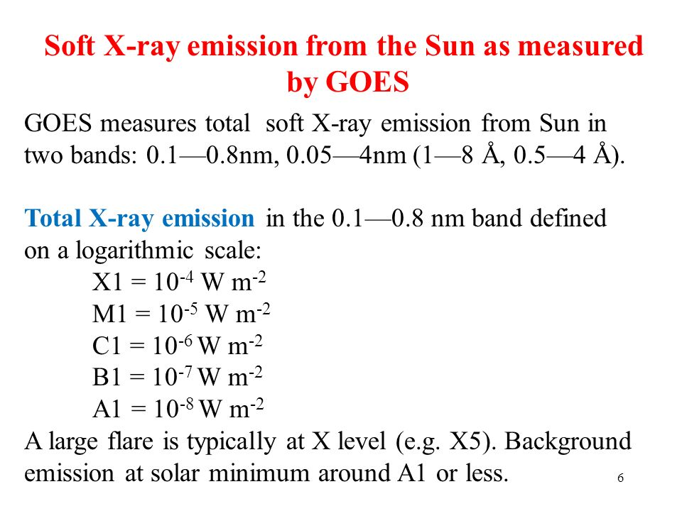 6 Soft X-ray emission from the Sun as measured by GOES GOES measures total soft X-ray emission from Sun in two bands: 0.10.8nm, 0.054nm (18 Å, 0.54 Å)
