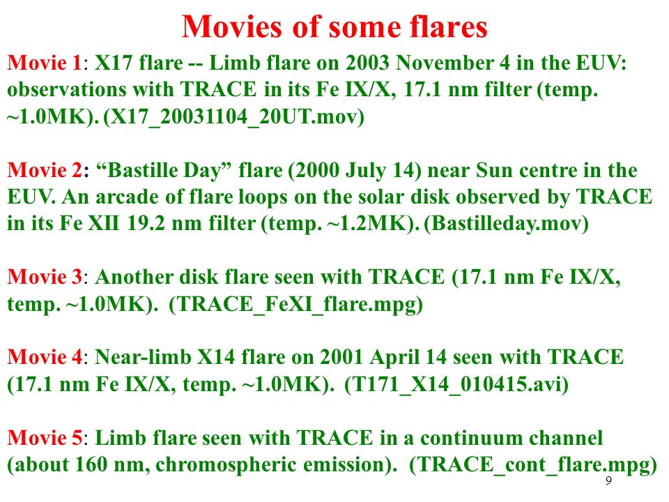 Movies of some flares 9 Movie 1: X17 flare -- Limb flare on 2003 November 4 in the EUV: observations with TRACE in its Fe IX/X, 17.1 nm filter (temp.