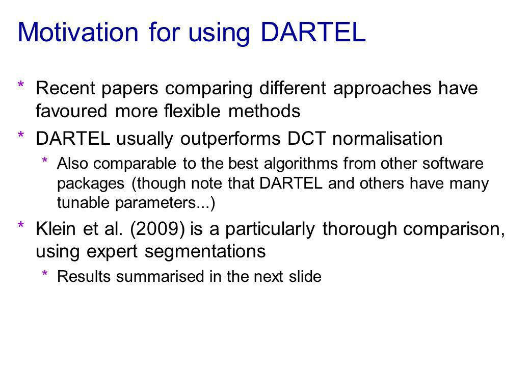 Motivation for using DARTEL *Recent papers comparing different approaches have favoured more flexible methods *DARTEL usually outperforms DCT normalis