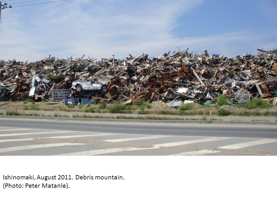 Ishinomaki, August 2011. Debris mountain. (Photo: Peter Matanle).
