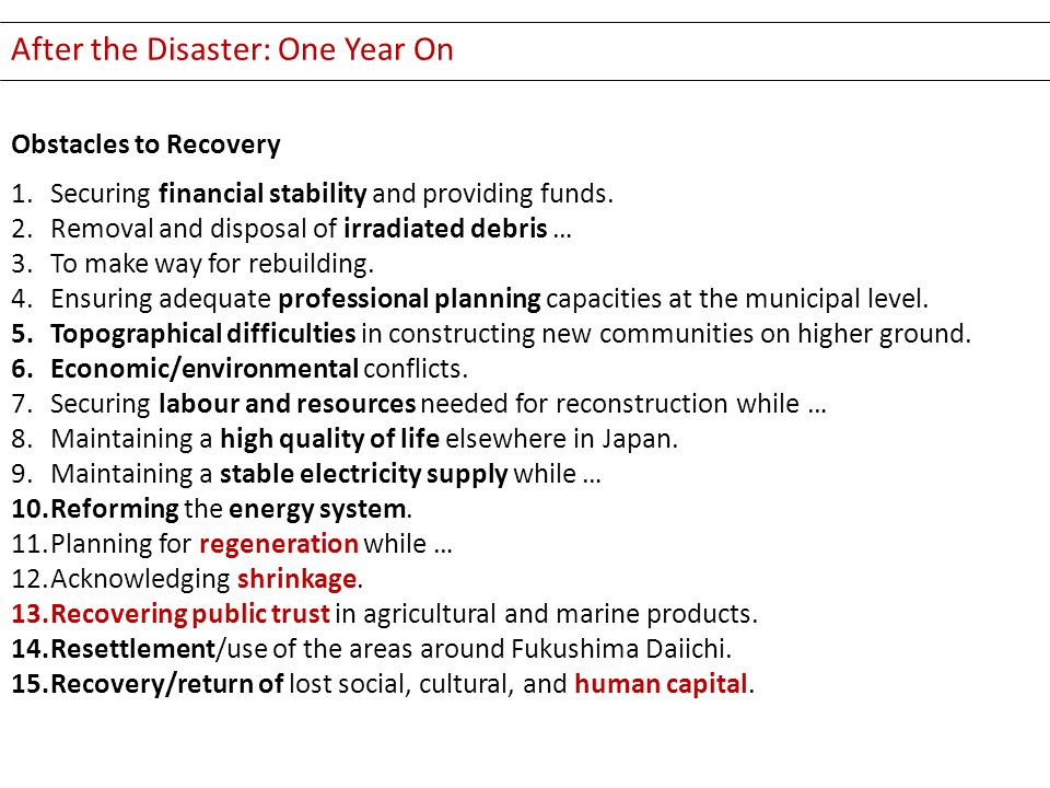 After the Disaster: One Year On Obstacles to Recovery 1.Securing financial stability and providing funds. 2.Removal and disposal of irradiated debris